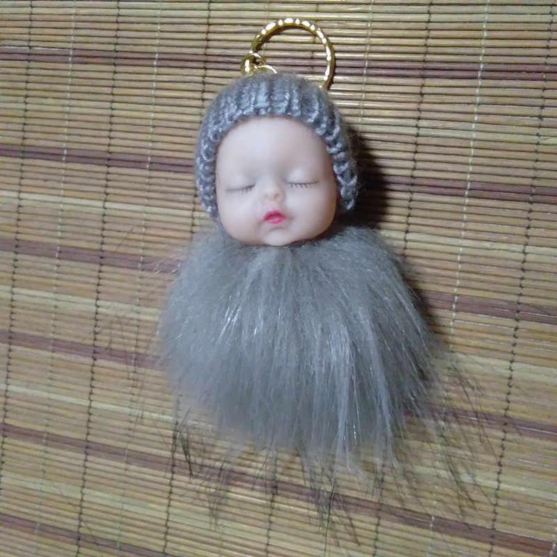 2019 saco de Dormir Do Bebê Dos Desenhos Animados Chaveiro Chaveiro Falso Borla Pele pompons Handmade Artesanato Presentes Do Partido Do Bebê