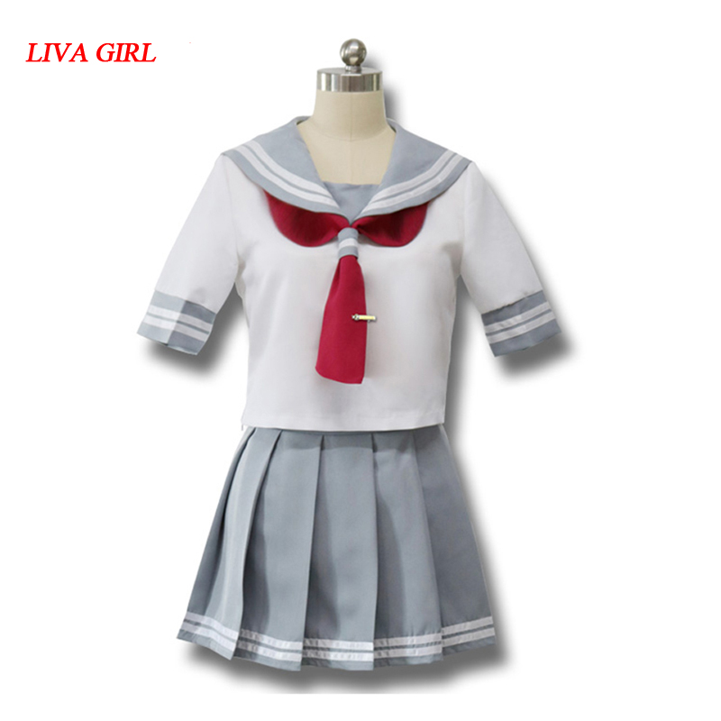 Japanese Anime Love Live Sunshine Cosplay Costume Takami Chika Girls Sailor Uniforms Love Live Aqours School Uniforms cute summer dress for girls new fashion kid baby girl sleeveless rose flower printed dresses striped casual party dress vestidos