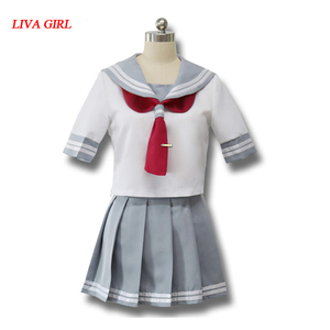 Japanese Anime Love Live Sunshine Cosplay Costume Takami Chika Girls Sailor Uniforms Love Live Aqours School Uniforms(China)