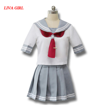 Japanese Anime Love Live Sunshine Cosplay Costume Takami Chika Girls Sailor Uniforms Aqours School