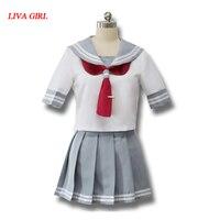 Japoński Anime Miłość Żywo Sunshine Cosplay Costume Takami Chika Dziewczyny Szkoła Mundury Mundury Marynarskie Miłość Żywo Aqours