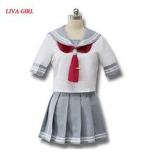 日本アニメ愛ライブサンシャインコスプレ衣装 Takami Chika 女の子セーラー制服ラブライブ Aqours 学校の制服