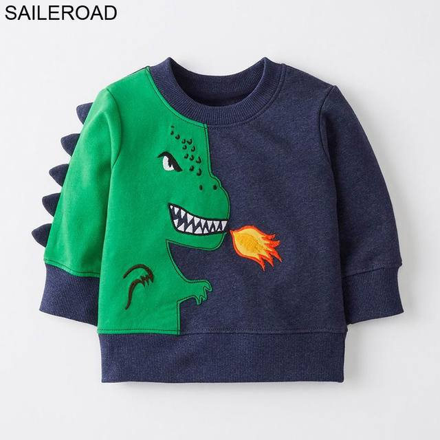 VELEIRO 2-7Years Camisola para Crianças Dinossauro Dos Desenhos Animados Camisola Morna para Crianças Camisas de Manga Longa T Outono Meninos Roupas