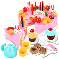 54pcs Cute DIY Birthday Cake Kitchen pretend play toys kitchen set for Early Educational Classic Plastic food Toy girl's gifts