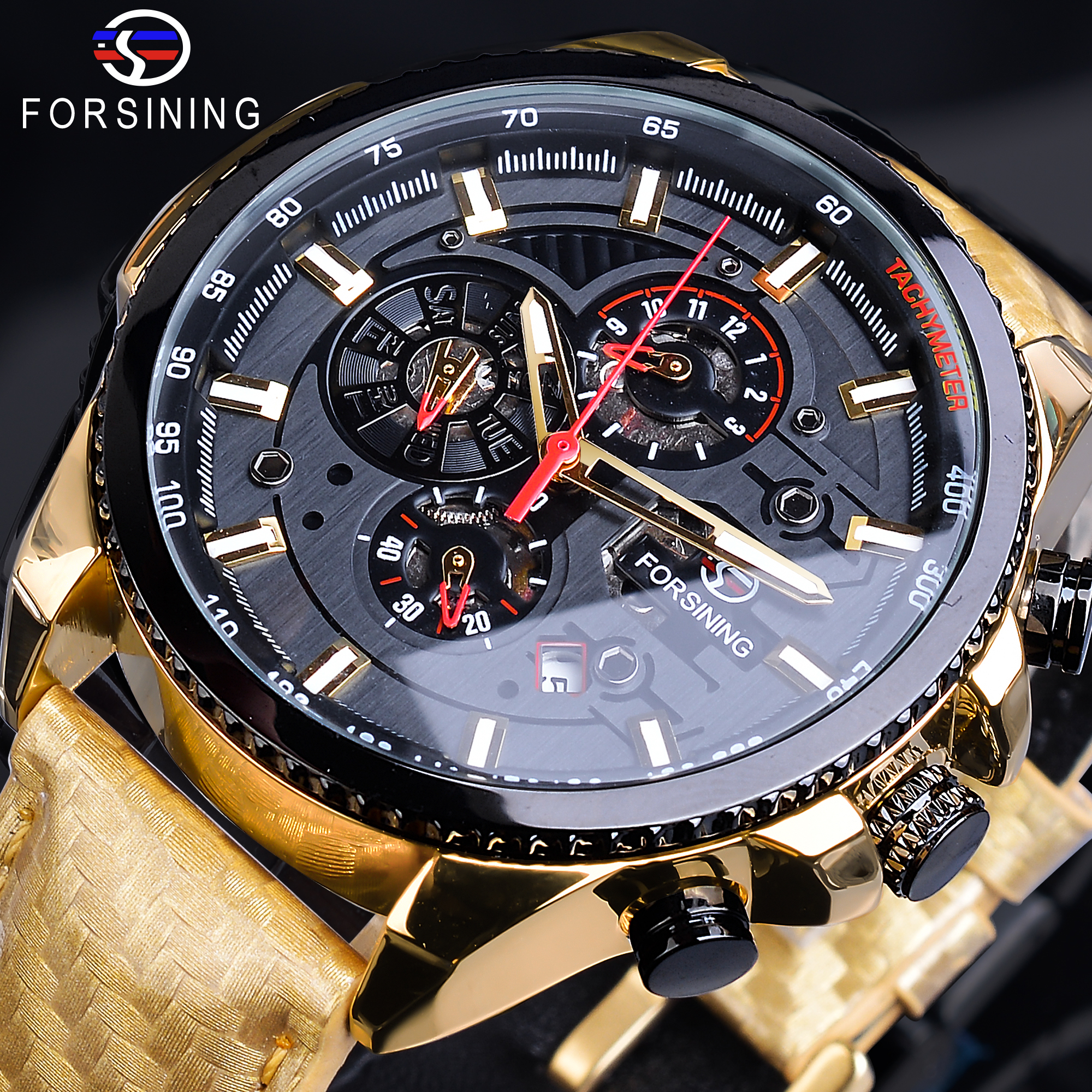 Forsining Men Wrist Watches Luxury Golden Mechanical Male Clock Automatic Wristwatch Smooth Genuine Leather Strap Herren HorlogeForsining Men Wrist Watches Luxury Golden Mechanical Male Clock Automatic Wristwatch Smooth Genuine Leather Strap Herren Horloge