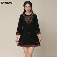 631975480 KYQIAO Ethnic Dress 2017 Women Mexico Style Vintage Three Quarter Sleeve O  Neck Red Black Embroidery. Vestido Étnico ...