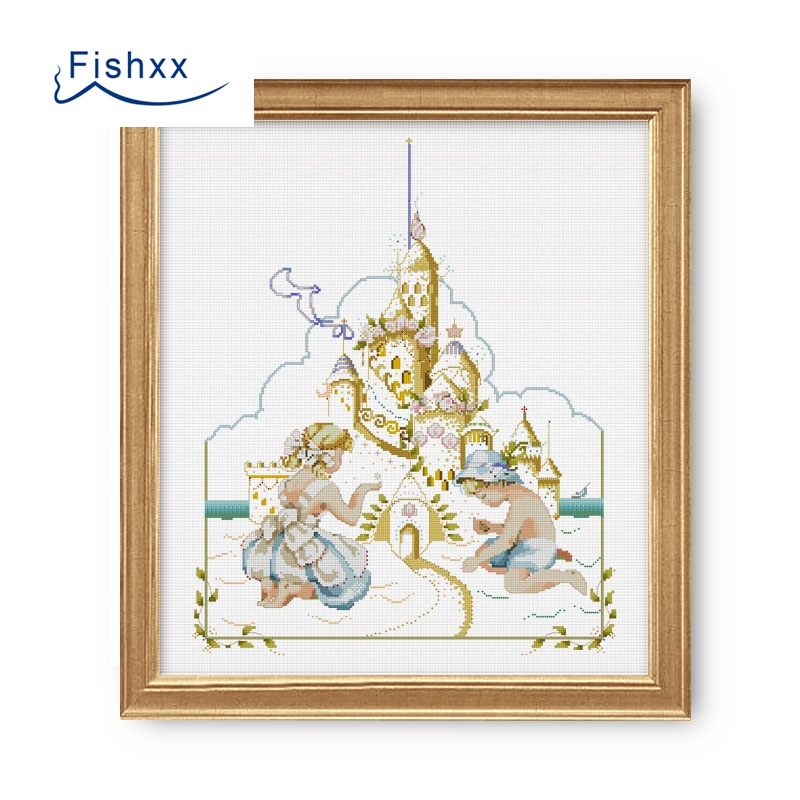 Fishxx Cross Stitch A1427 Seaside Beach Boys Girls Stack Castle Children S Room Paintings Manual Embroidery