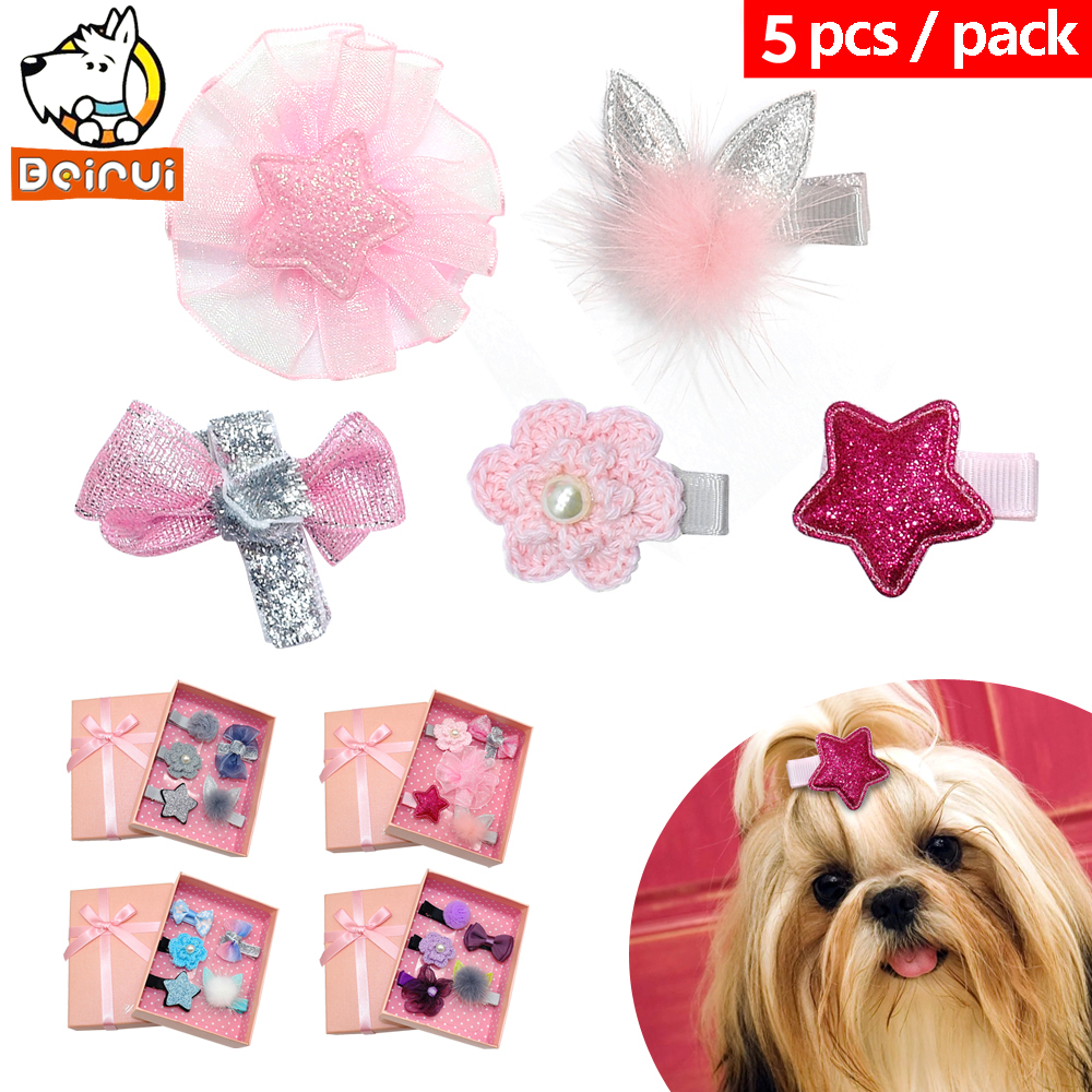 5pcslot Handmade Dog Hair Clip Gorgeous Dogs Hair Accessories Girl