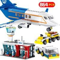 864 قطعة مركز المدينة المطار رادار اللبنات متوافق مدينة تكنيك الطائرات سيارة شاحنة مجموعات الطوب لعب للأولاد الهدايا