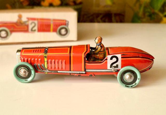 Retro clockwork estaño juguetes rare Colección Clockwork estaño II coche rojo de la vendimia