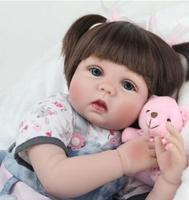 Original npk 55 cm real baby dolls brown reborn baby dolls for sale girls cloth soft denim skirt gift early reborn babies