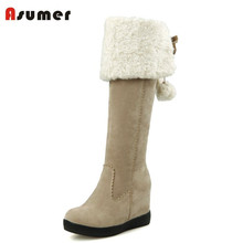 ASUMER new arrival winter mid calf boots round toe height increasing high heels women winter shoes sweet bowtie fur snow boots(China)