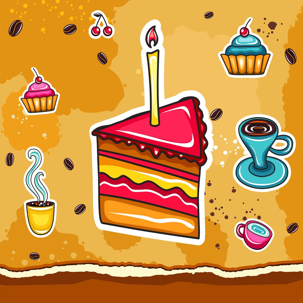 HOME DECOR High Precision wall printing Set of 3 artoon cake Stretched canvas print Ready to Hang in Painting Calligraphy from Home Garden