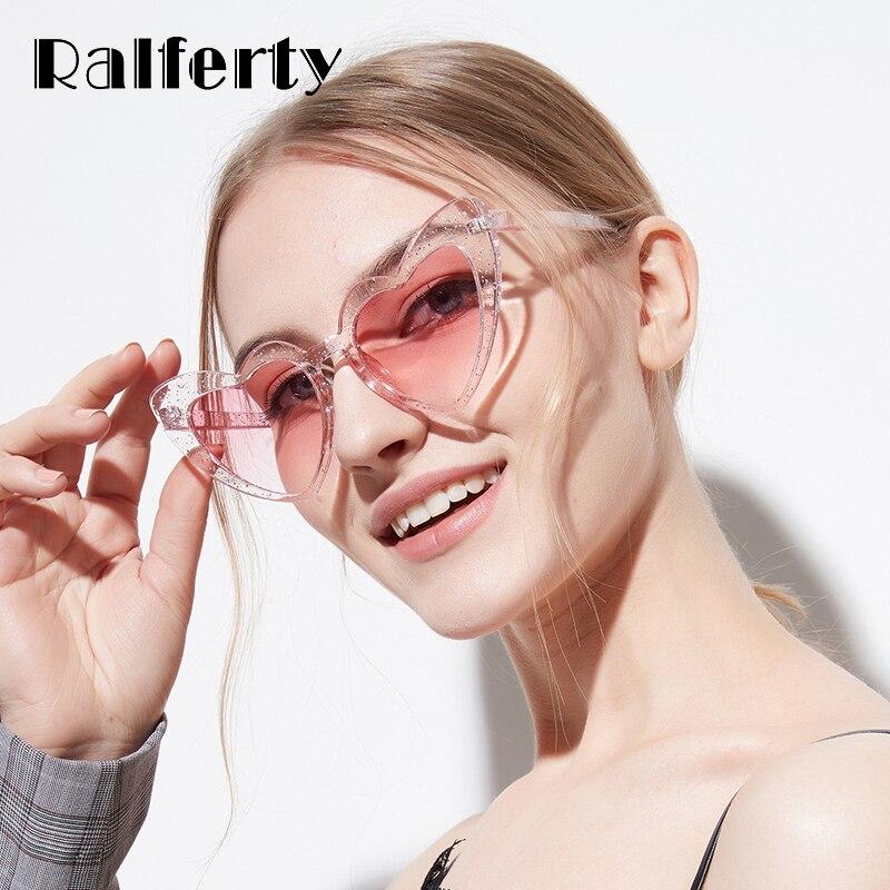 Ralferty 2018 Senhoras Óculos de Sol Em Forma de Coração Óculos De Sol Das  Mulheres Transparente adb9cda8b1