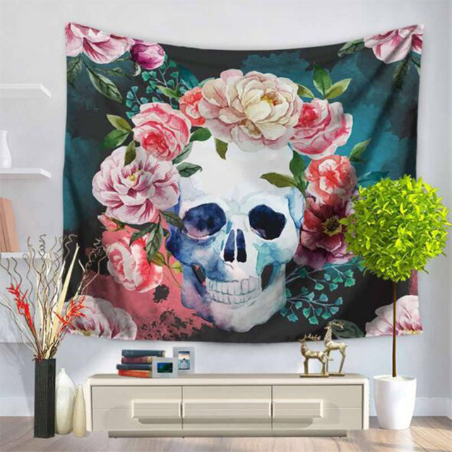 Skull Head Tapestry Fresh Color Flowers Hanging Wall Beach Carpet Fashion  Polyester Beach Rugs Home Decor
