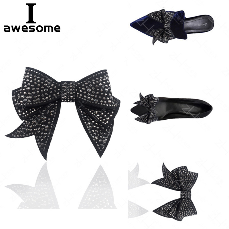 Black Bow Rhinestone Bridal Wedding Party Shoes Accessories High Heels Sandals Boots Flats DIY Manual Shining Shoe Decorations