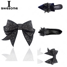 Black Bow Rhinestone Bridal Wedding Party Shoes Accessories High Heels Sandals Boots Flats DIY Manual Shining Shoe Decorations(China)