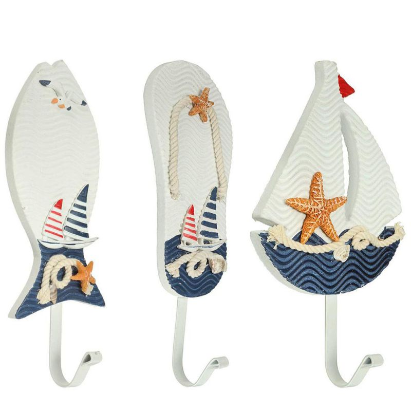 Mediterranean Style Fish Slipper Boat Shaped Wall Hooks Living Room Hanging Decoration Decor Free shipping