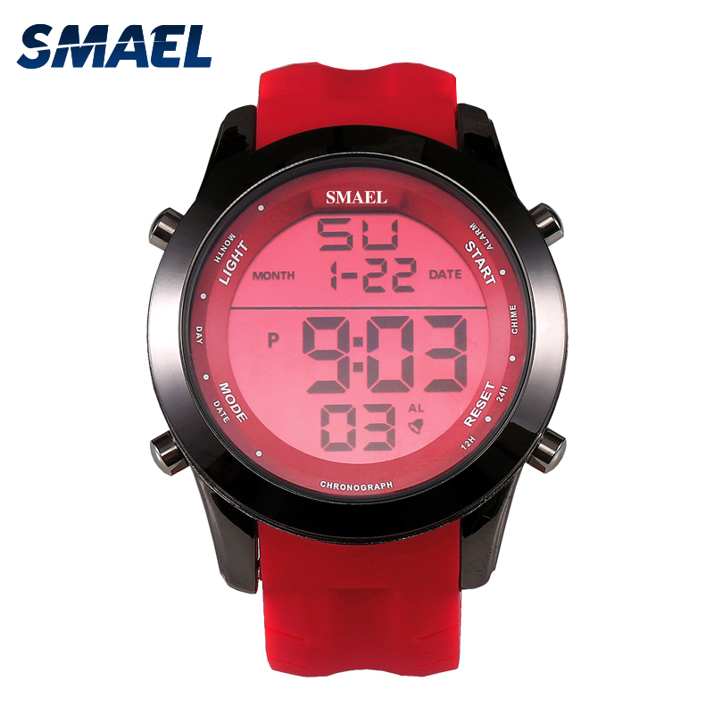 SMAEL Red Sport Watches LED Digital Watch Male Clock Top Brand Fashion Digital-watch relogio masculino Best Men Gifts WS1076 smael 1708b