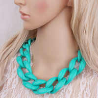 Boho Large Thick Chunky Chain Choker Necklaces Colors Women's Massive Statement Jewelry Big Acrylic Resin Chain Necklace NK1001