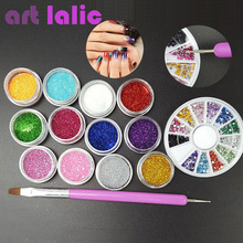 Manicure Set 12 Color Fine Glitter + 2 Way Nail Brush Dotting Tool + 1.5mm Rhinestones Wheel Container Nail Art DIY Kit