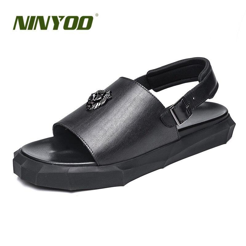 NINYOO New Simple Men Sandals Slipes Genuine Leather Casual Slippers Antislip Rubber Thick Sole Flats Metal Toe Black Beach Shoe