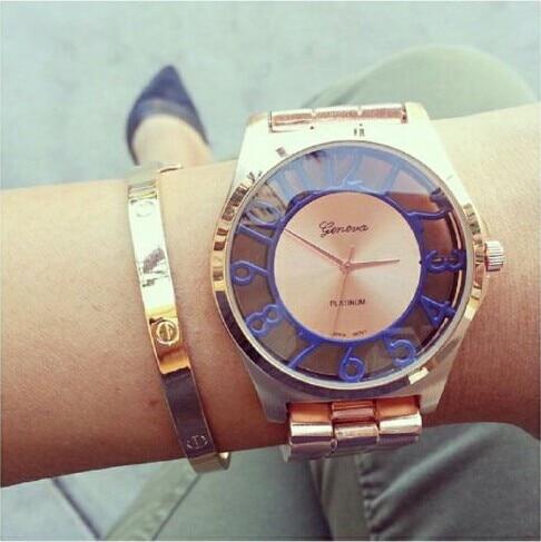 Mode kvinnors armbandsur Genève färgade nummer se genom att titta på Japan rörelse kvarts damer klocka