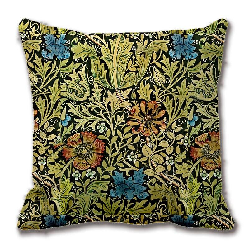 Yellow Flower Vine Polyester Pillow Case Sofa Throw Cushion Cover Home Decor