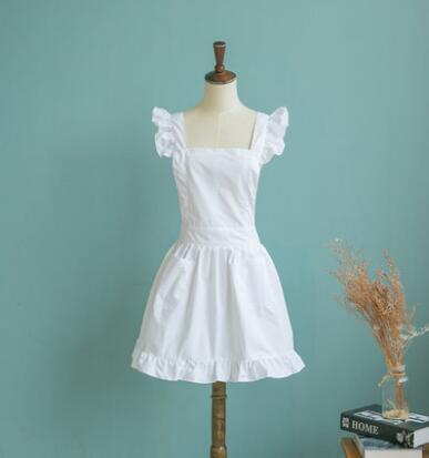 Japanese Style Short Women Elegant White Ruffled Corss Back Adult Cosplay Apron White Cotton Apron Avental