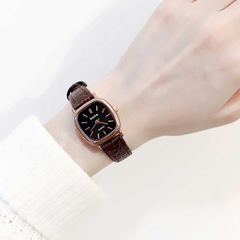 Simple carré en cuir Petit cadran montre De Mode Femmes robe montres minimaliste frais femelle horloge heures