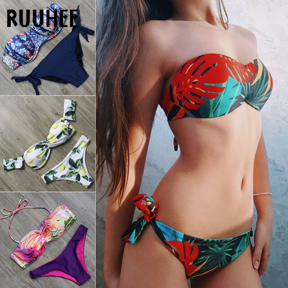 RUUHEE Swimwear Bikinis-Set Beachwear Push-Up Summer Women Mid-Cut Female