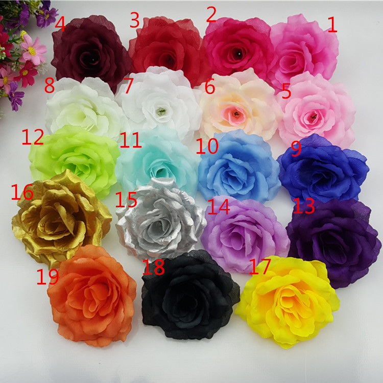 (100 pcs/Lot) 19 color 10cm Artificial Rose Silk Flower Heads for Wedding Party Decorative Flowers Christmas Home decoration