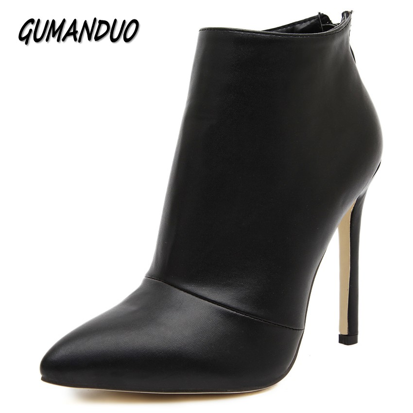 GUMANDUO women pumps high heels boots shoes woman pointed toe wedding party dress stiletto ladies short ankle boots size 35-40 цены онлайн