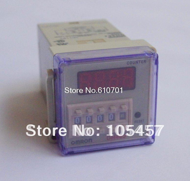 220VAC digital preset counter relay 1-999900 LED display 8 pin panel installed DH48J SPDT with socket  цены