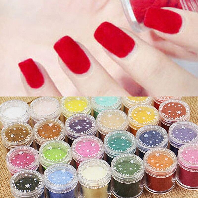 Nagelglitzer 24 Farben 10 Ml/box Charmante 3d Samt Beflockung Pulver Nail Art Dekorationen Deko-polnischen Tipps Maniküre Nägel Dekorationen Neu Kommen