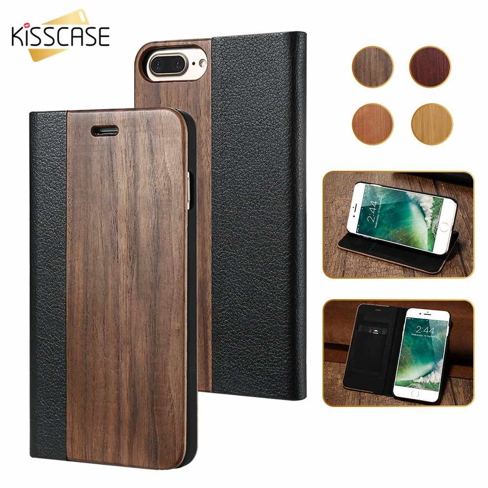 KISSCASE Luxury Leather Flip Case For iPhone X 6 6S 7 8 Plus With Card Slot Phone Cases Samsung Galaxy S7 Edge Shells