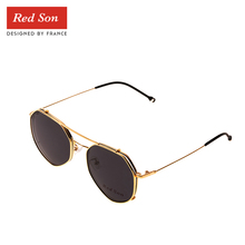 Red Son Vintage Heart-shaped Polarized Sunglasses Women Men Clip On Lens Removable Goggles Alloy Frame Set Plain Glasses UV400 carshiro 0397 fashion resin lens zinc alloy frame polarized sunglasses goggles coffee