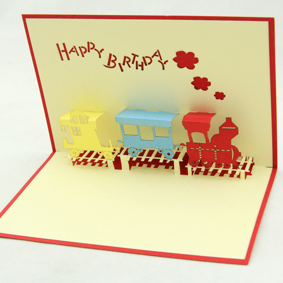 Birthday train hollow out the card/3D  kirigami card/ handmade greeting cards gift for men  Free shipping two books and many style collection of paper 72pcs the celebration card party a necessary birthday cards free shipping