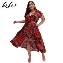 Plus Size Women Boho Vintage Print Summer Split Dresses Beachwear Holiday Long Maxi Dress
