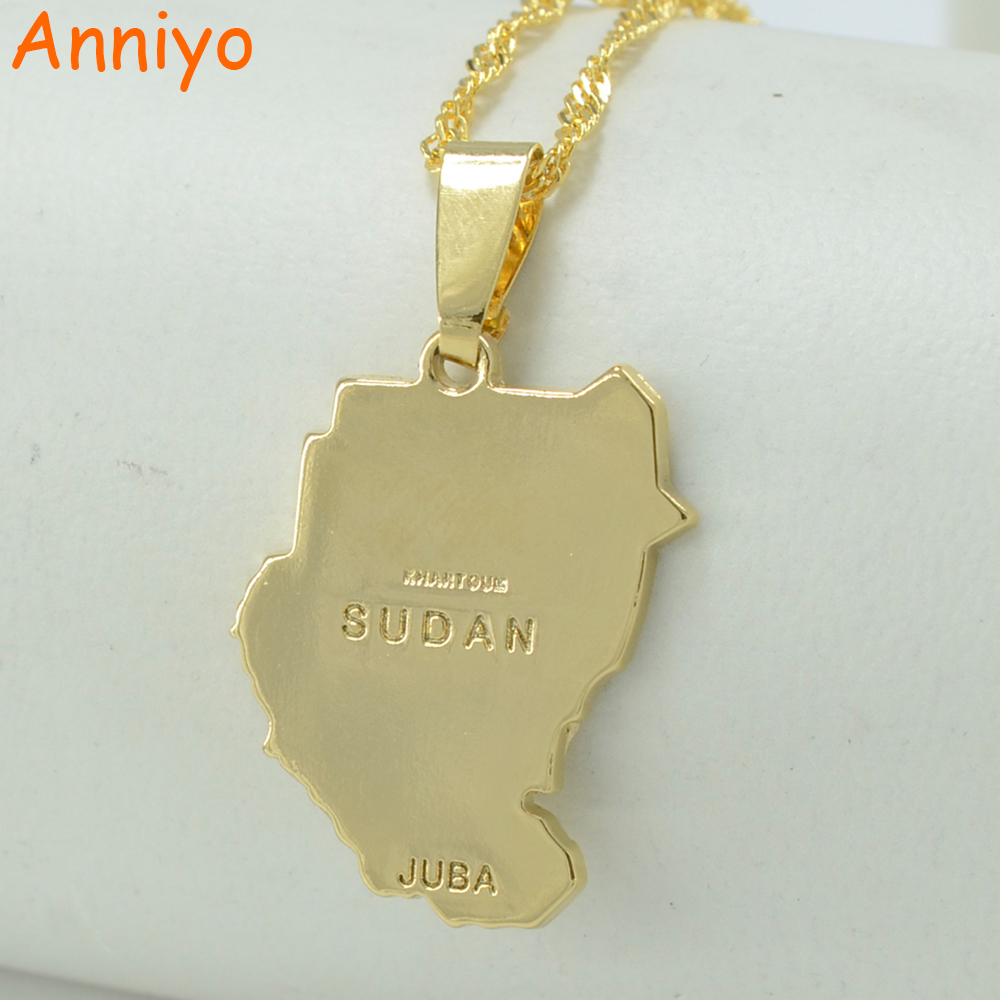 Anniyo Original Old Sudan Map Juba Necklace Pendant Gold Cols