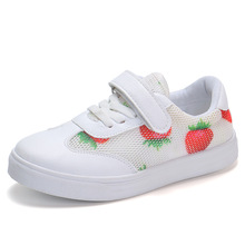 Strawberry print Kid Shoes For Student Girls White Sport Shoes Breathable Children Casual Shoes 4T 5T 6T 7T 8T 9T 10T 11T-15T