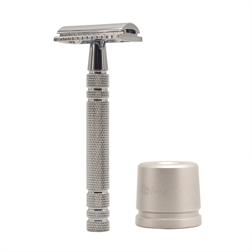 WEISHI Bright Silver Men's Classic Double-sided Manual Razor Long Handle Safety Razors Shaving 1 Razor Simple Packing
