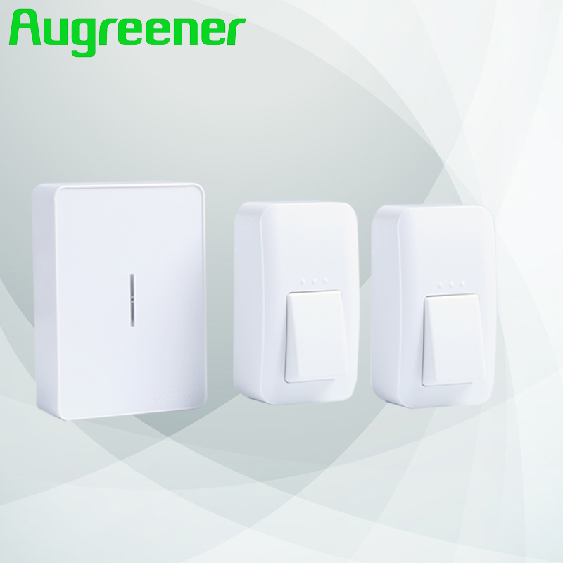 Augreener wireless doorbell 2 button 1 receiver smart door bell 100m long range free shipping waterproof button ring for home 2 receivers 60 buzzers wireless restaurant buzzer caller table call calling button waiter pager system