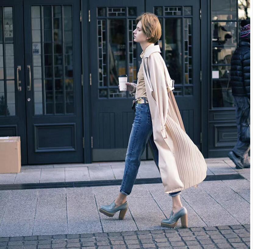 "British style Long Sleeves Autumn pleated coats women""s Long sleeve windbreaker overcoats abrigo mujer 2"