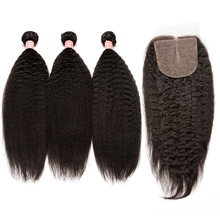 Kinky Straight Brazilian Remy Hair Human Hair Bundles With Closure 3 Bundles Hair Extensions 4×4 Silk Base Lace Closure CARA