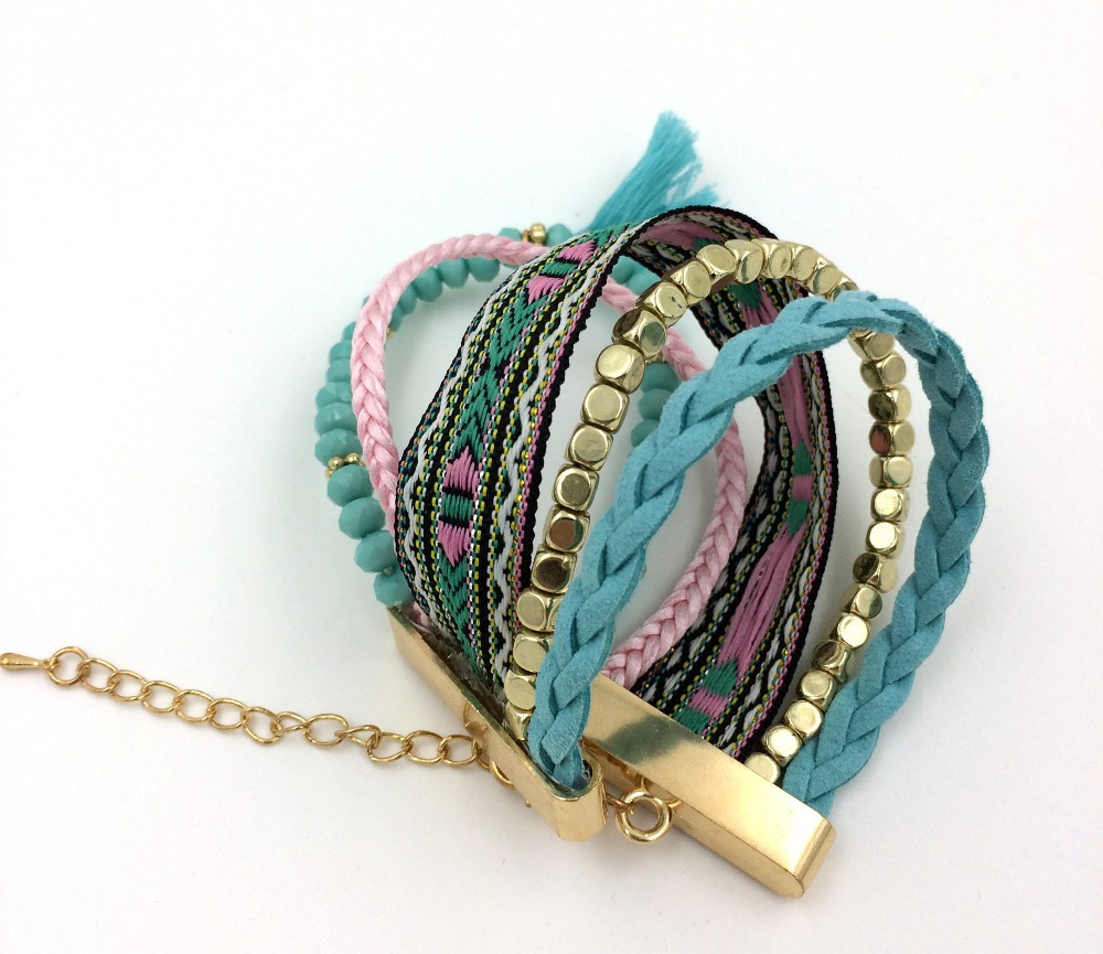 2016 New European Boho Jewelry Suppliers handcrafted bracelet stone beads beaded wristband for women girl