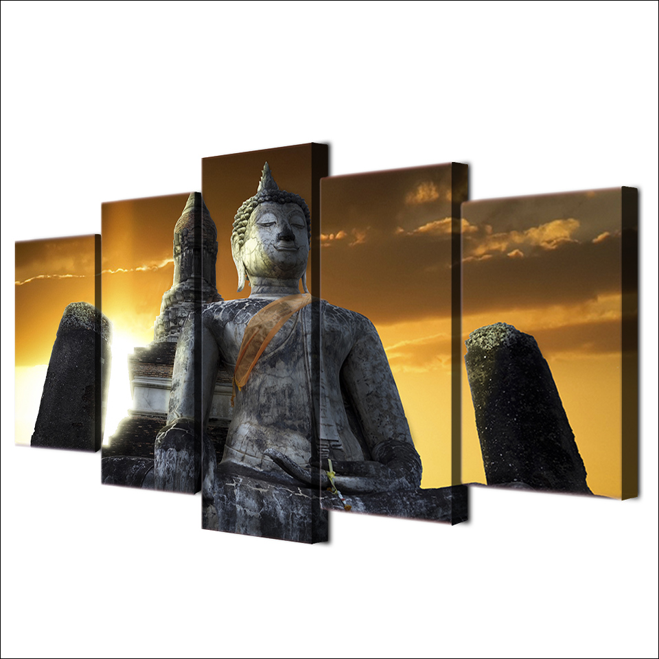 Home decor hd printed canvas wall art pictures frames 5 pieces home decor hd printed canvas wall art pictures frames 5 pieces huge stone buddha statue painting for living room poster in painting calligraphy from home jeuxipadfo Choice Image