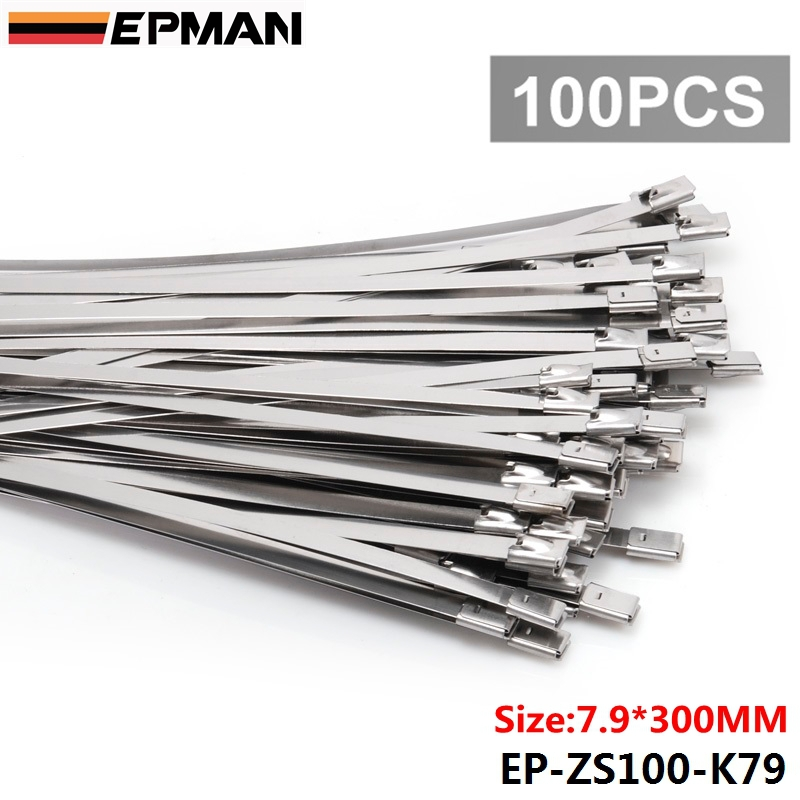 100pcs 7.9mm X 300mm Exhaust Heat Stainless Steel Cable Ties Wrap Metal Tie Extra Long & Wide Large For VW 5 EP-ZS100-K79