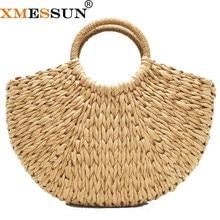 eac4427388e7 Ручной работы пляжная сумка Круглый Соломы мужская тотализаторов мешок  большой ведро летние сумки для женщин корзина
