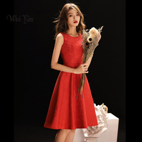 weiyin Cocktail Dresses 2018 New Bride A Line Banquet Red Lace Short Prom Dress Party Formal Dresses WY872
